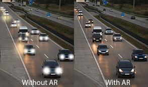 Photo illustrating nighttime driving with and without AR